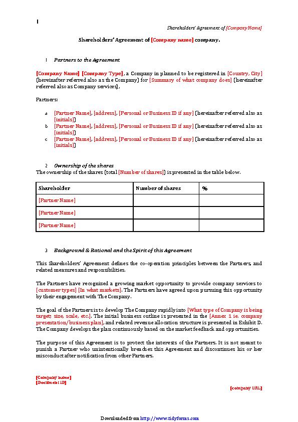 Shareholders Agreement Sample 2