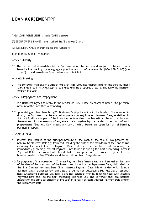 Simple Loan Agreement Template 3 Pdfsimpli