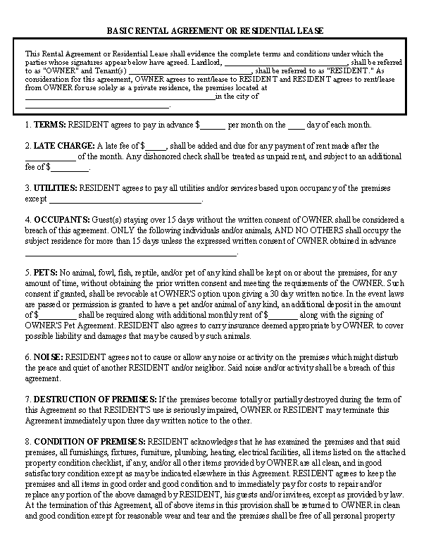 Simple One Page Building Rental Agreement Pdfsimpli