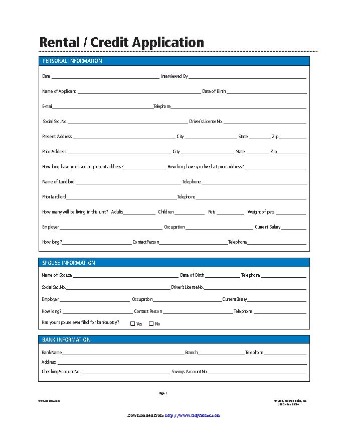 Simple Rental Application Form Pdfsimpli