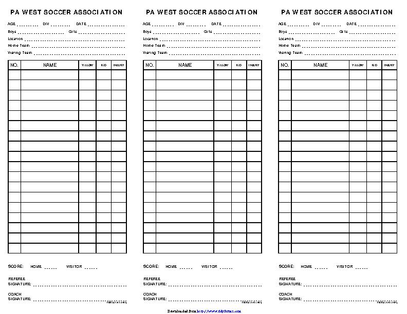 Soccer Lineup Sheet