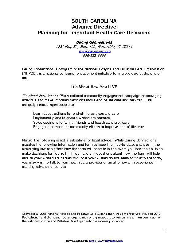 South Carolina Advance Health Care Directive Form