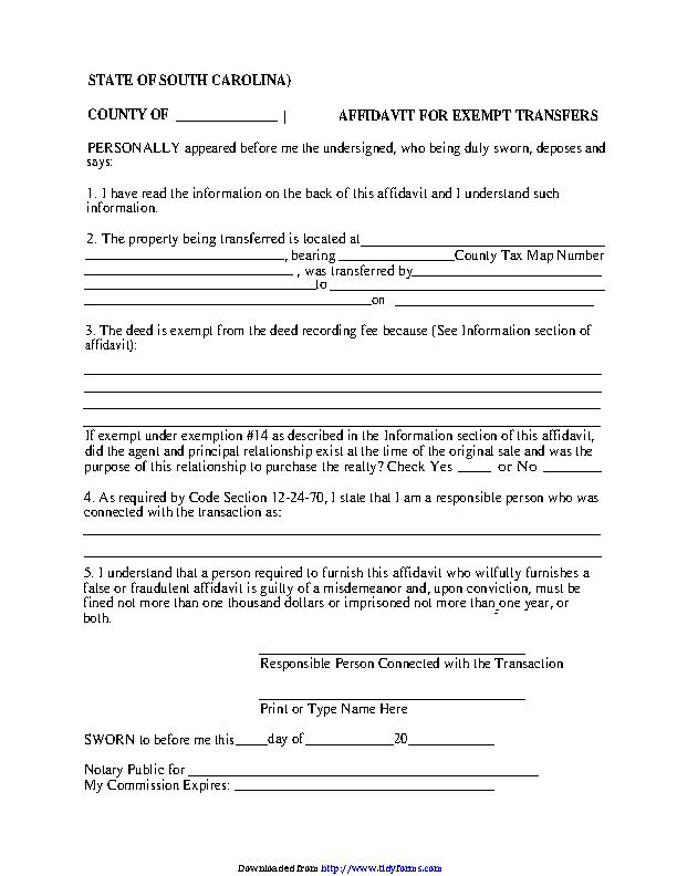 South Carolina Affidavit For Exempt Transfer