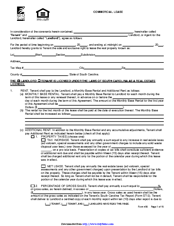 South Carolina Commercial Lease Agreement Pdfsimpli