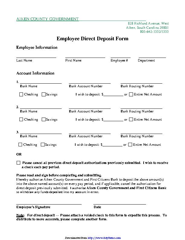 South Carolina Direct Deposit Form 2