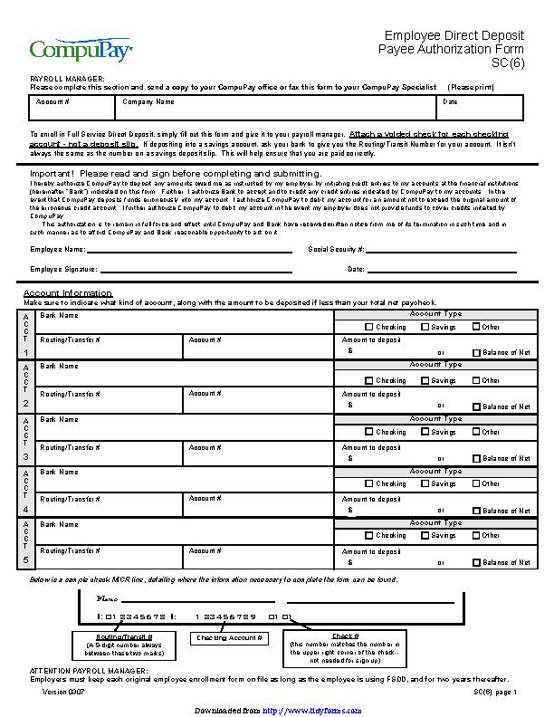 South Carolina Direct Deposit Form 3