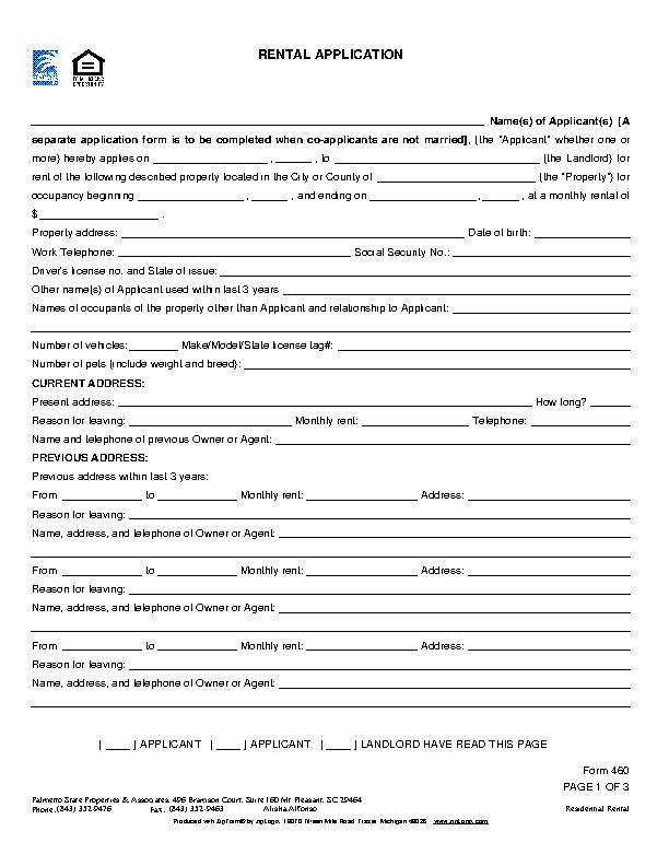 South Carolina Rental Application Form 460