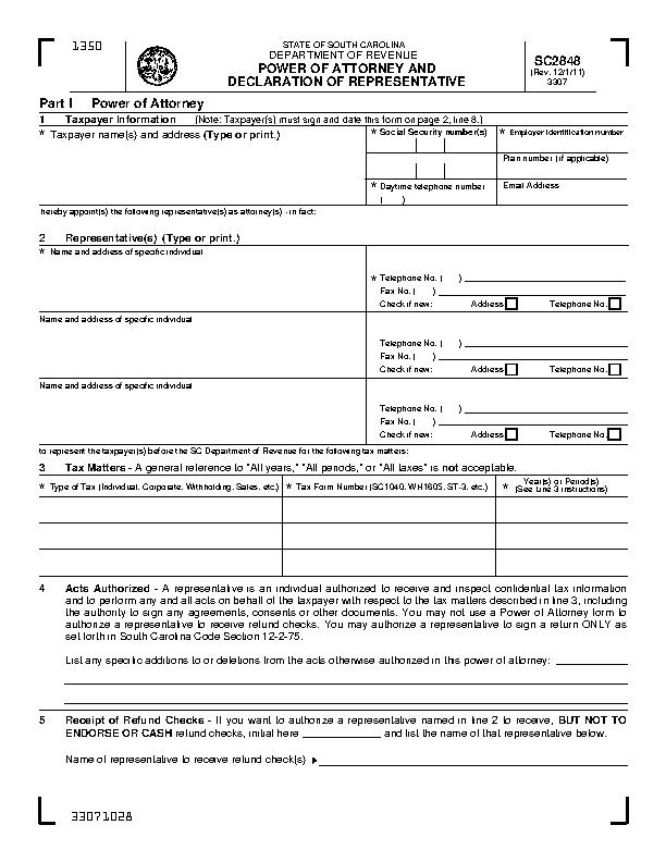 South Carolina Tax Power Of Attorney Sc2848