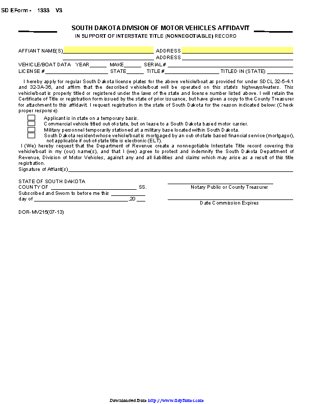 South Dakota Affidavit In Support Of Interstate Title Nonnegotiable Form