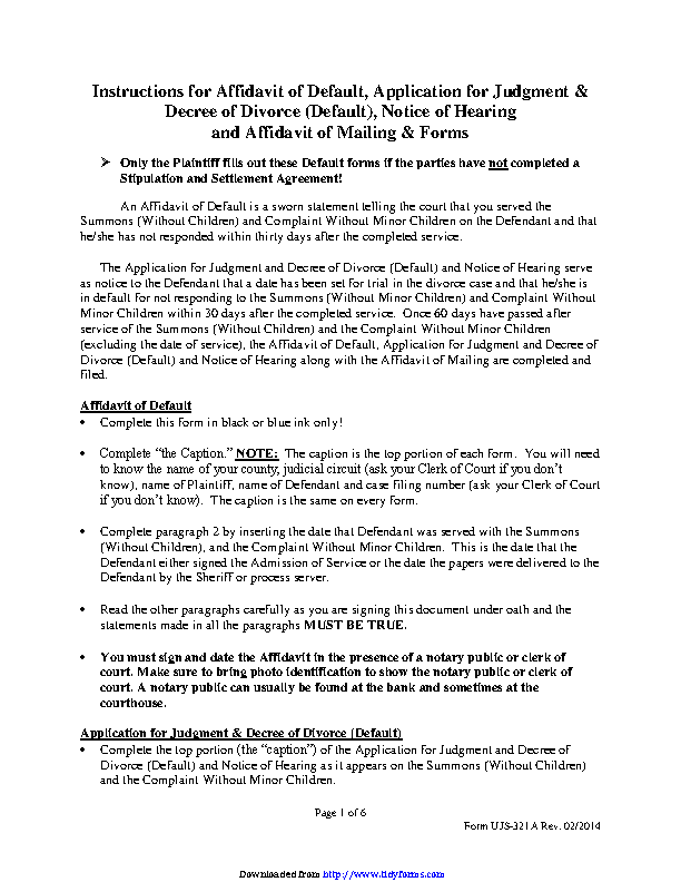 South Dakota Affidavit Of Default Application For Judgment And Decree Of Divorce Default Notice Of Hearing And Affidavit Of Mailing Without Minor Children Form