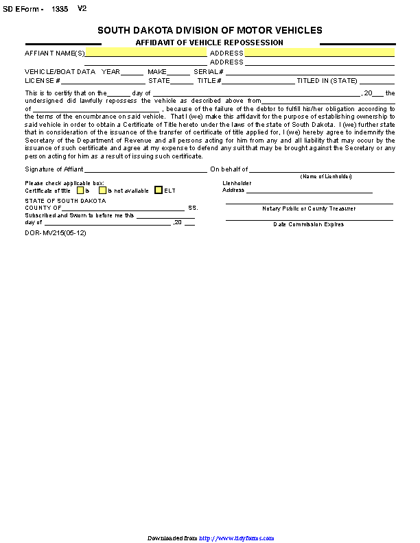 South Dakota Affidavit Of Vehicle Form