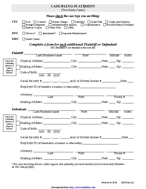 South Dakota Civil Case Filing Statement 2 Party Case Form
