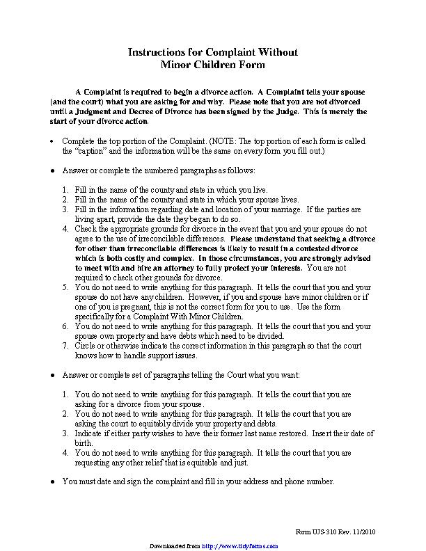 South Dakota Complaint Without Minor Children Form