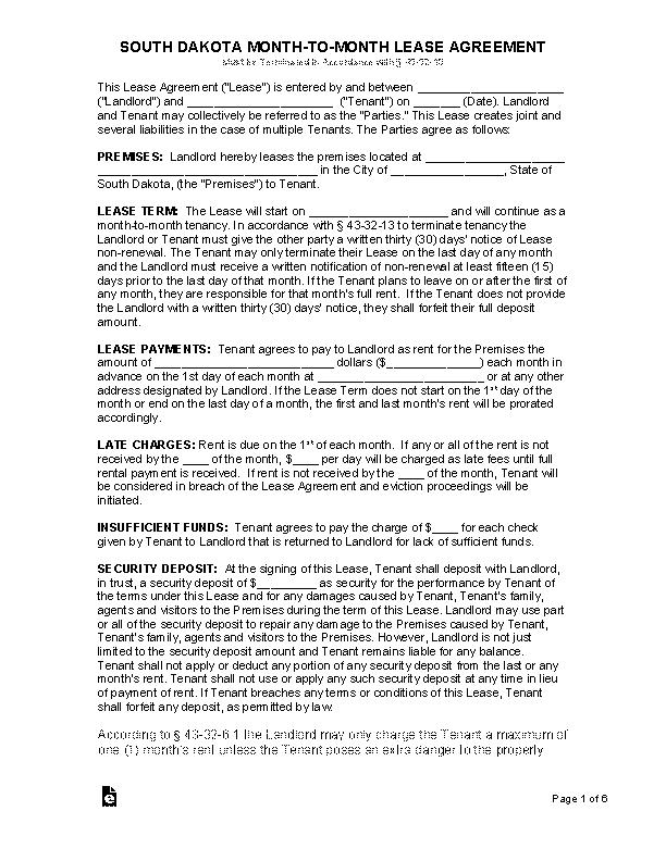 South Dakota Monthly Rental Agreement Form