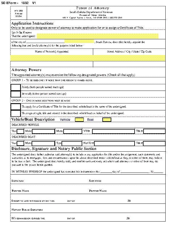South Dakota Motor Vehicle Power Of Attorney Form Mv 008