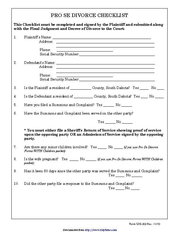 South Dakota Pro Se Divorce Checklist Form