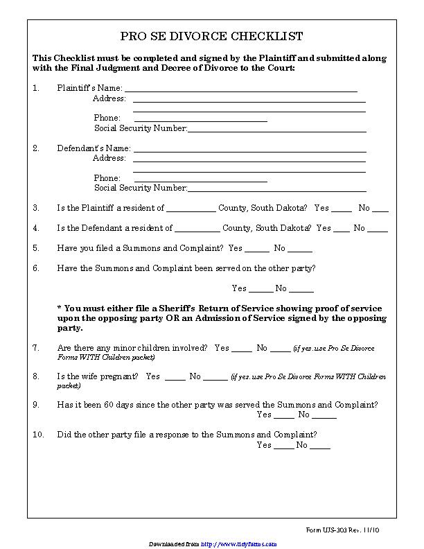 South Dakota Pro Se Divorce Checklist Form