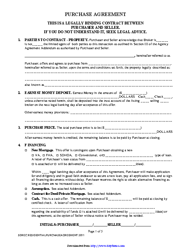South Dakota Purchase Agreement Residental Sales Form