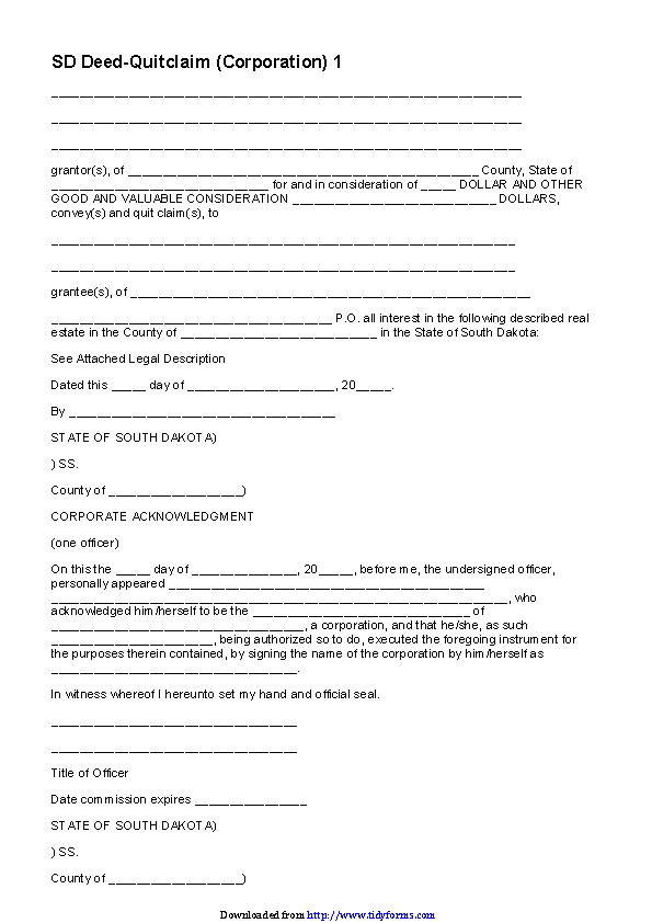 South Dakota Quitclaim Deed Form 2