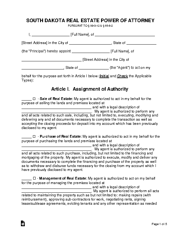 South Dakota Real Estate Power Of Attorney Form