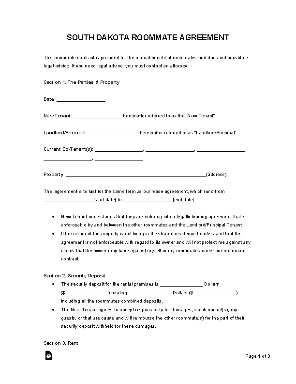 South Dakota Roommate Agreement Template