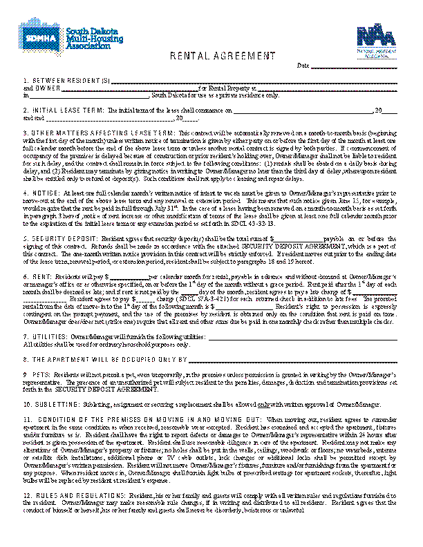 South Dakota Standard Lease Agreement Template