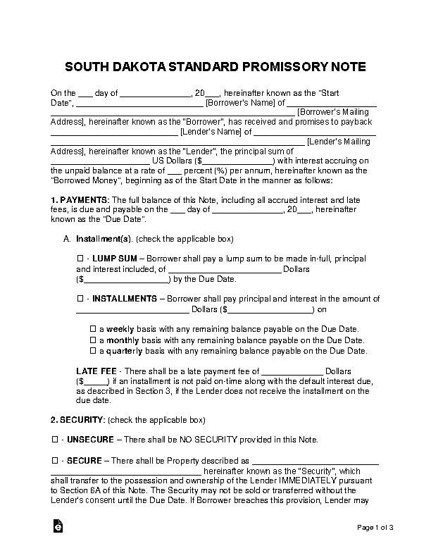 South Dakota Standard Promissory Note Template