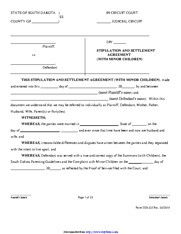 South Dakota Stipulation And Settlement Agreement With Minor Children Form