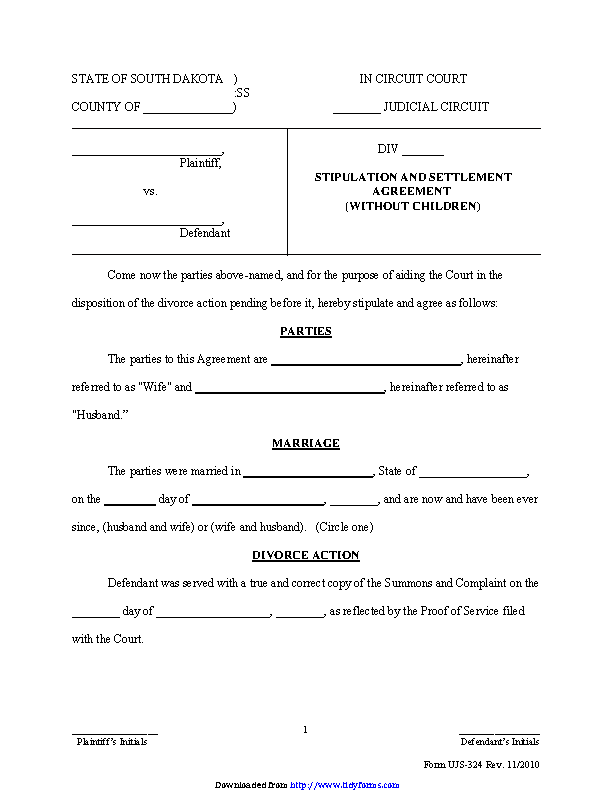South Dakota Stipulation And Settlement Agreement Without Children Form