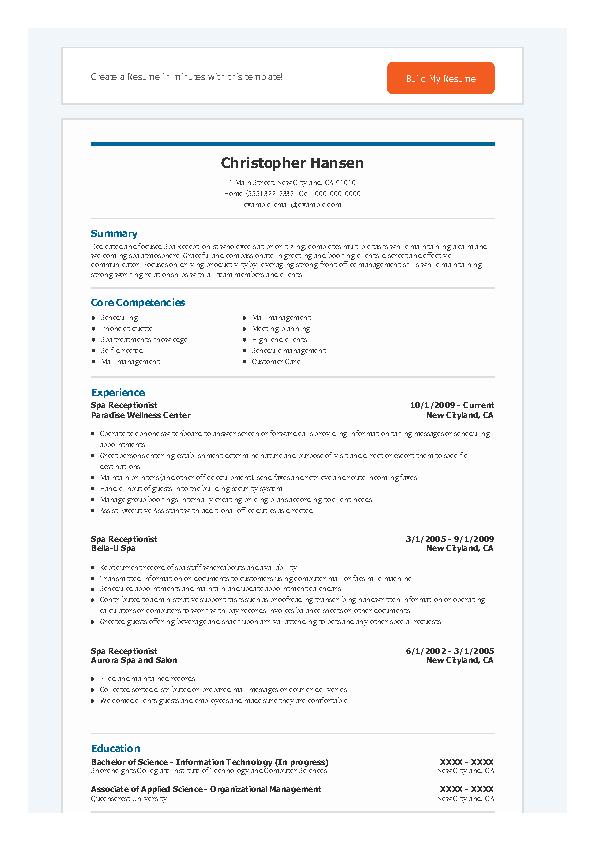 Spa Receptionist Resume