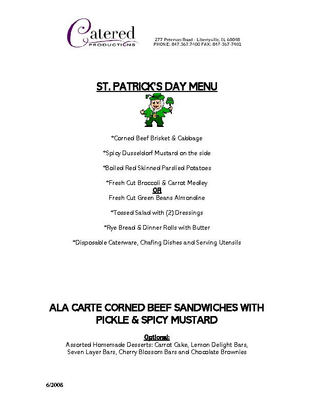 St Patricks Day Event Menu