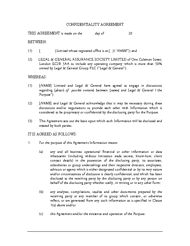 Standard Confidentiality Agreements | Standard Form Confidentiality Agreement Sample Pdfsimpli
