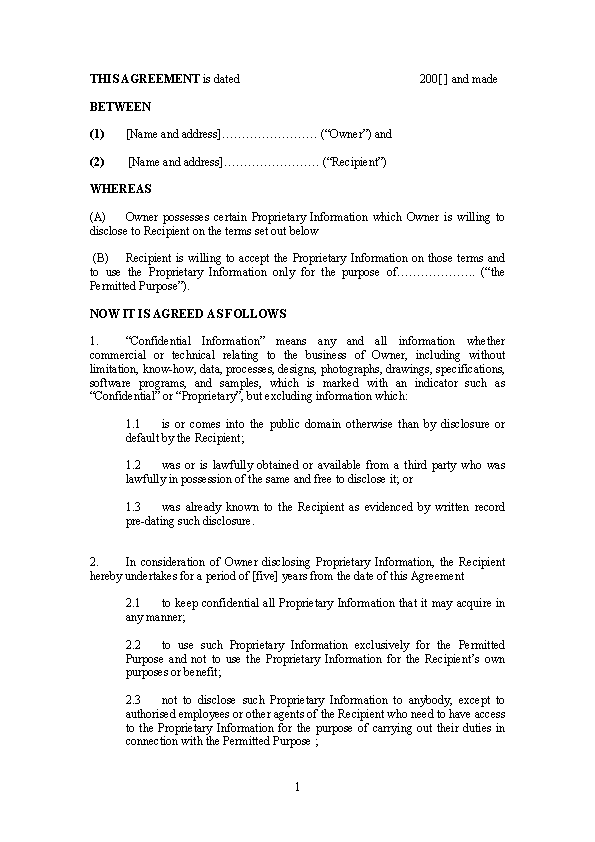 Standard Model Non Disclosure Agreement Form Doc Pdfsimpli