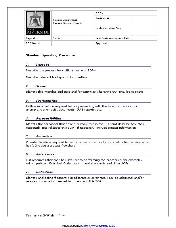 Standard Operating Procedure Template Word
