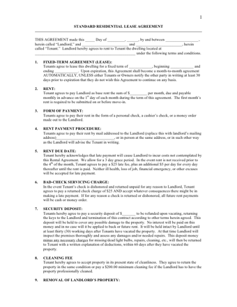 Standard Residential Lease Agreement PDF