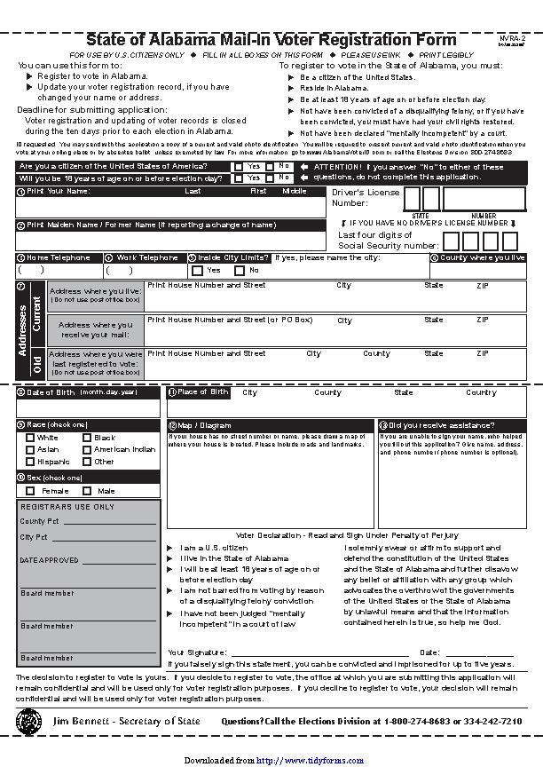 State Of Alabama Mail In Voter Registration Form