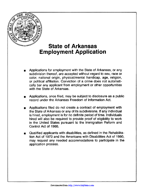 State Of Arkansas Employment Application