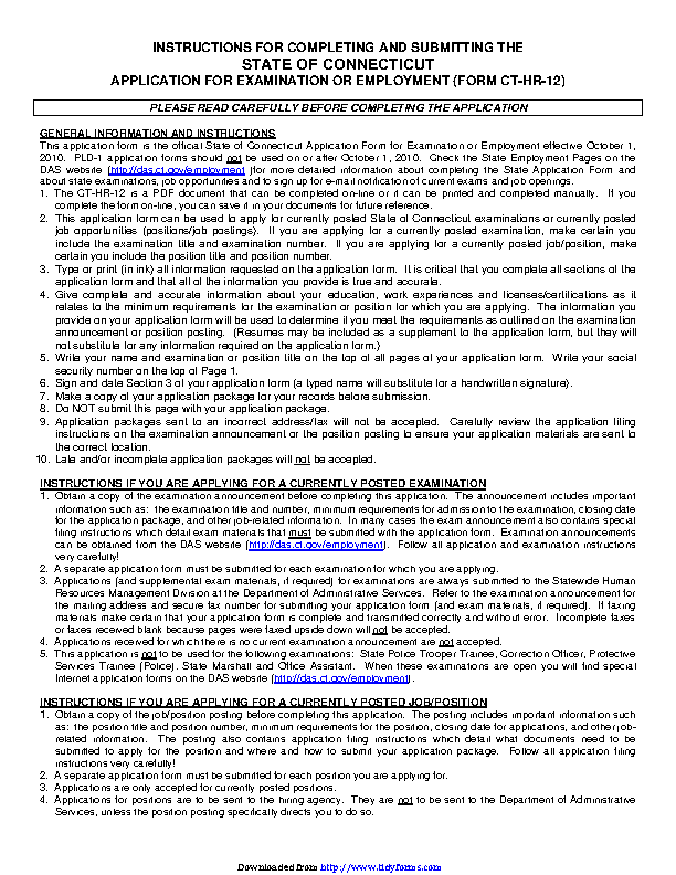 State Of Connecticut Application For Examination Or Employment Form Ct Hr 12