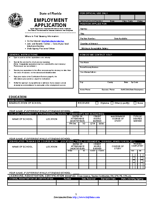 State Of Florida Employment Application 2