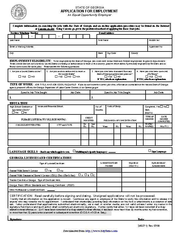 State Of Georgia Application For Employment