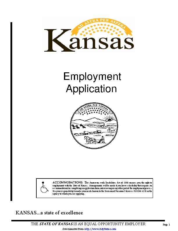 State Of Kansas Employment Application