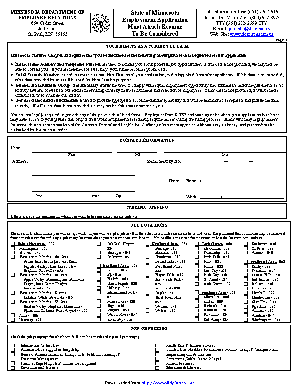 State Of Minnesota Employment Application