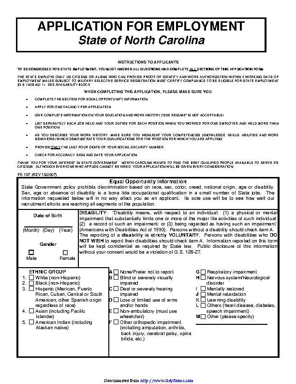 State Of North Carolina Application For Employment 2