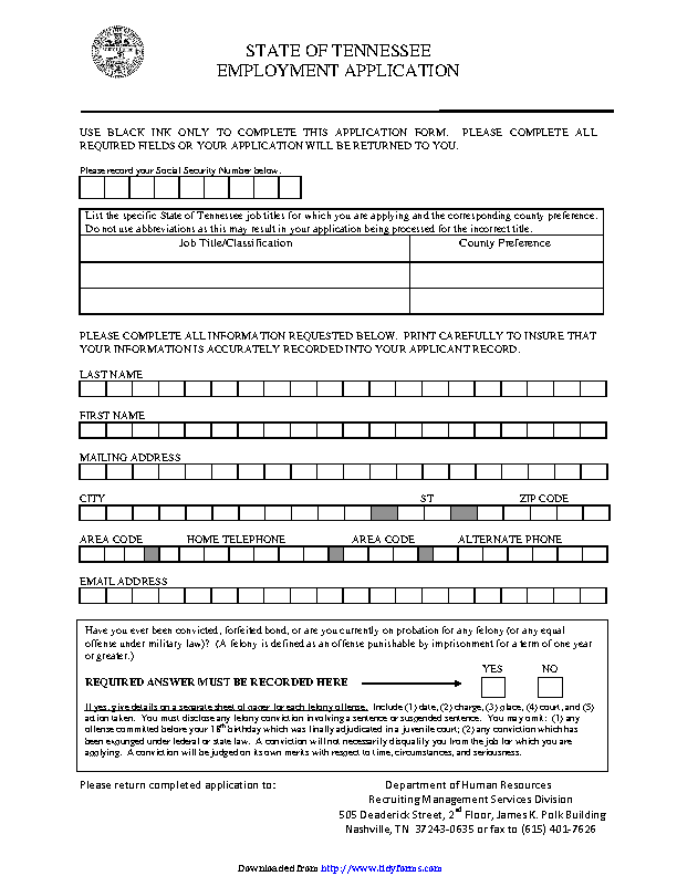 State Of Tennessee Employment Application 2