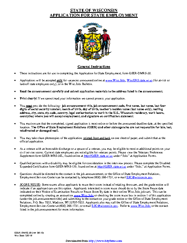 State Of Wisconsin Application For State Employment