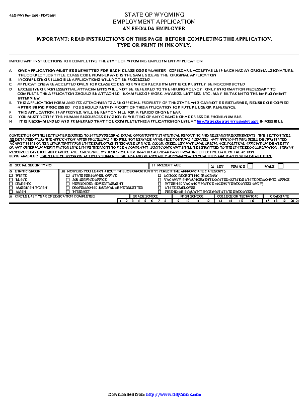 State Of Wyoming Employment Application