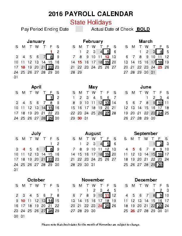 State Payroll Calendar Template