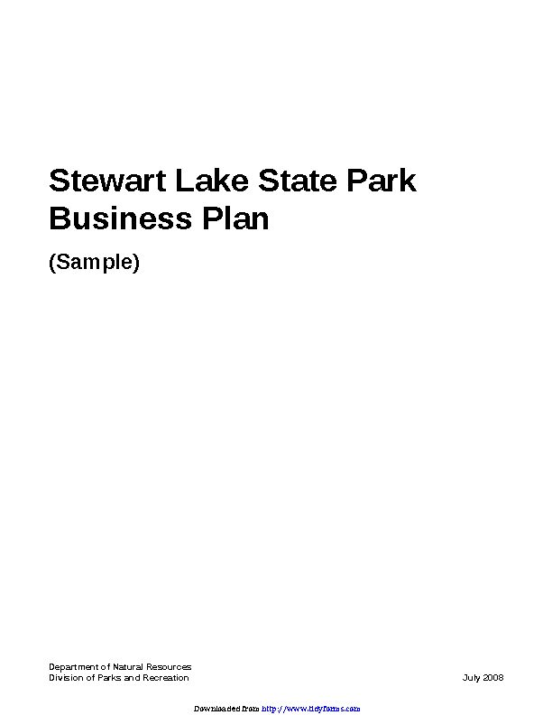 Stewart Lake State Park Business Plan Sample