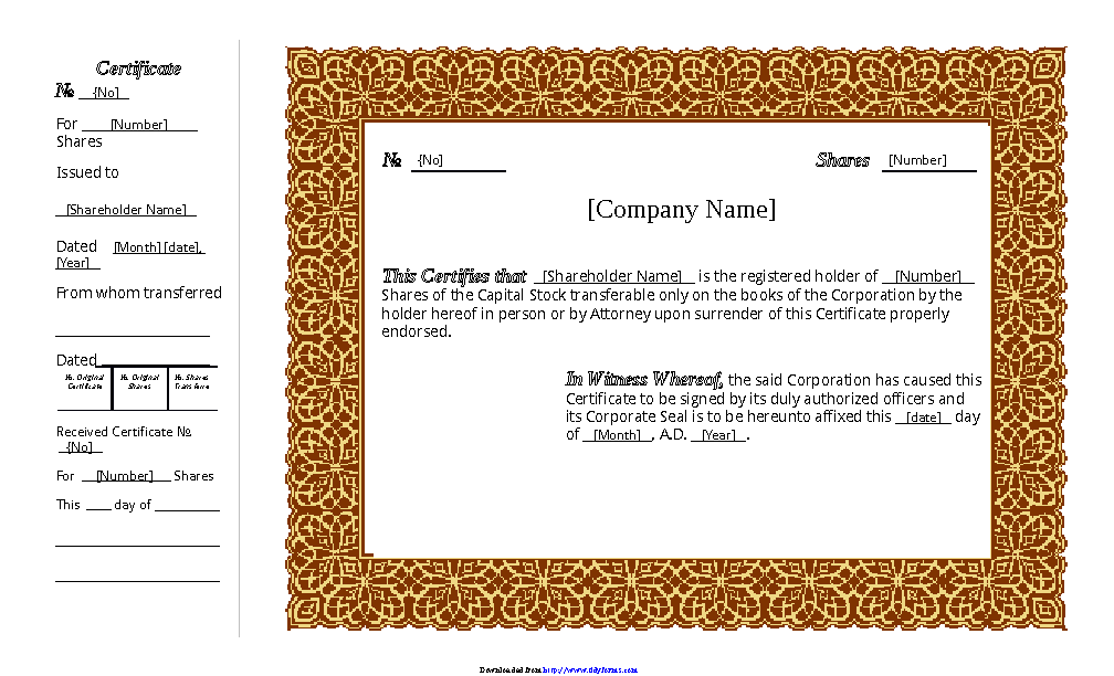 Stock Certificate Template 1