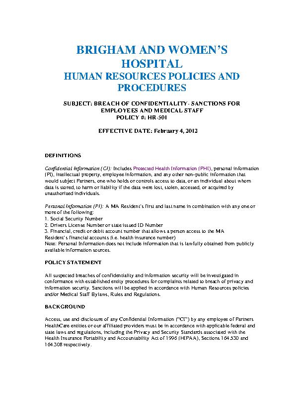 Hr Confidentiality Agreement | Strategic Human Resources Confidentiality Agreement Example